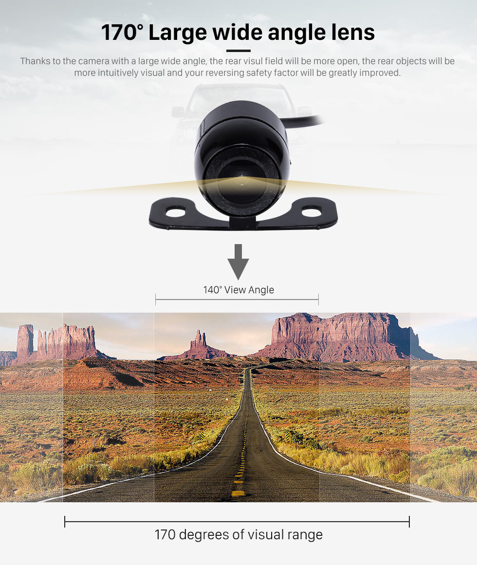 170 Large wide angle lens 170 Degree Wide Angle Lens Night Vision 648*488 Pixels Waterproof Rearview Backup Camera Parking Video 12V