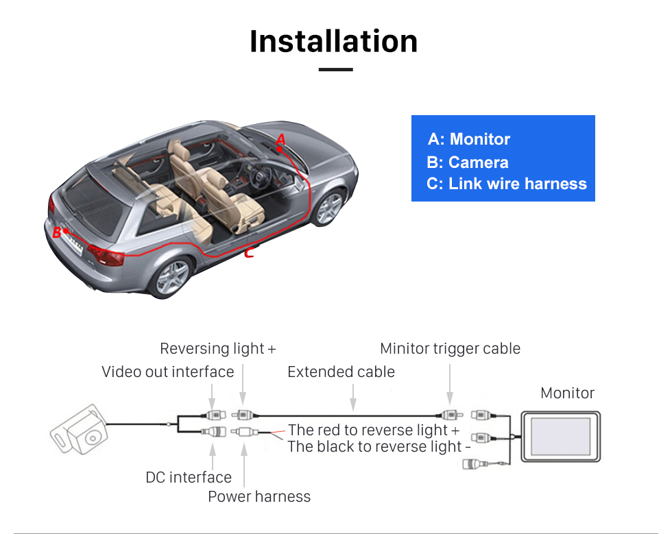 Installation 170 Degree Wide Angle Lens Night Vision 648*488 Pixels Waterproof Rearview Backup Camera Parking Video 12V