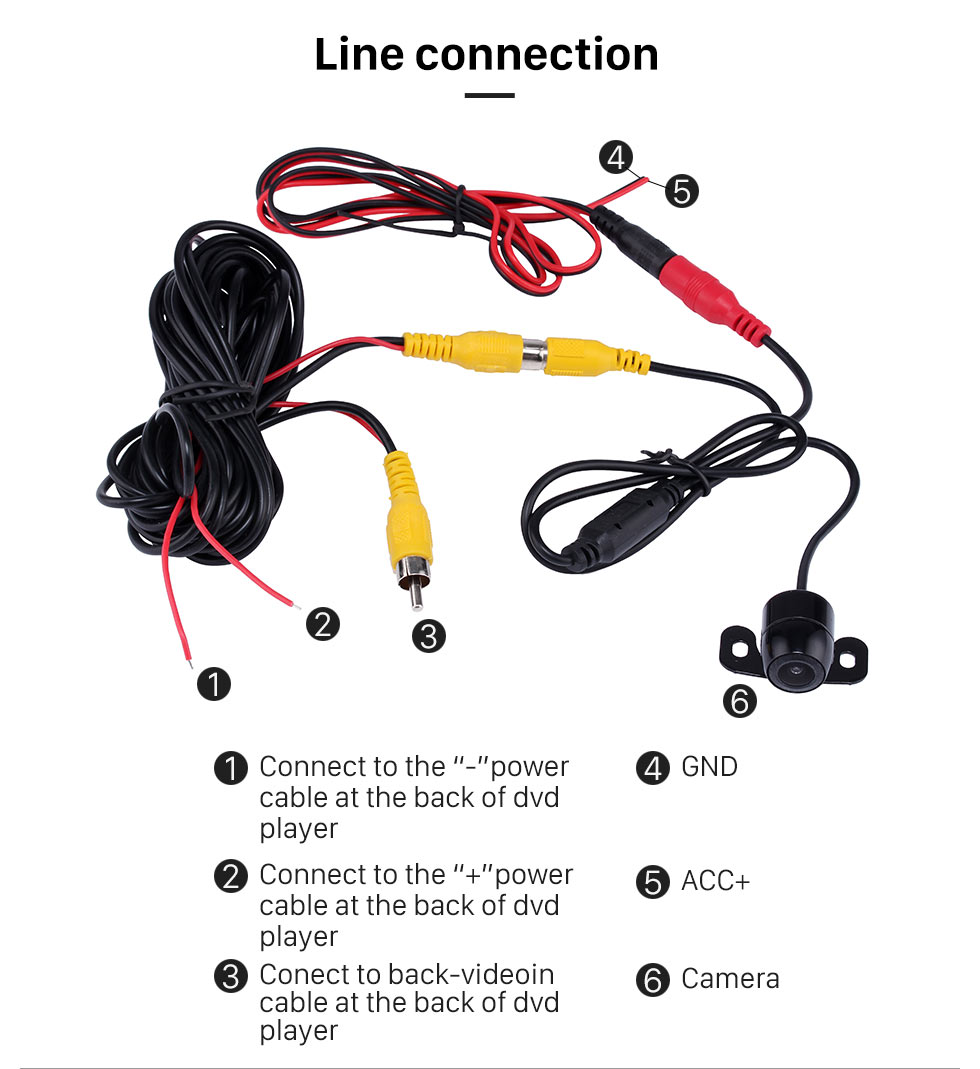 Line connection 170 Degree Wide Angle Lens Night Vision 648*488 Pixels Waterproof Rearview Backup Camera Parking Video 12V