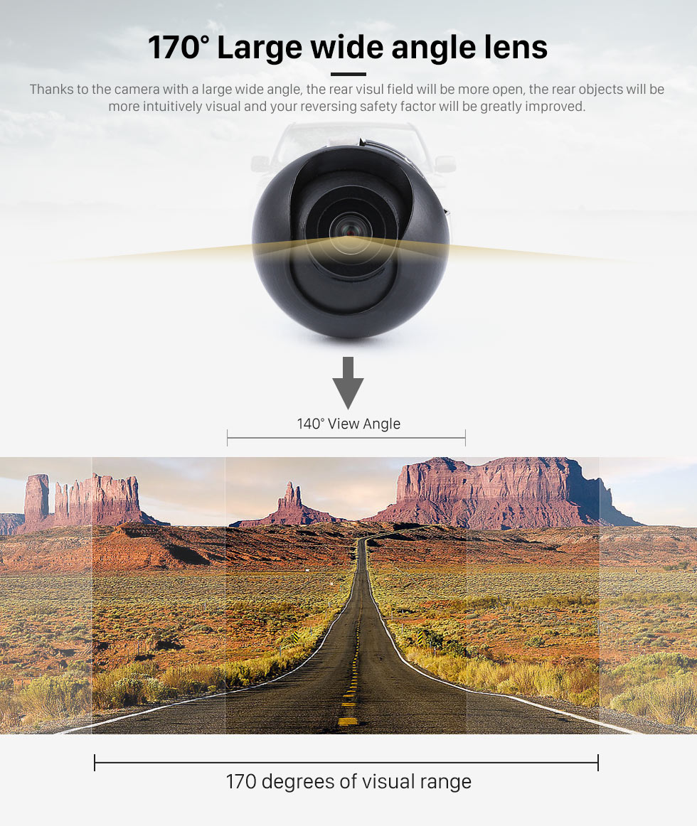 170 Large wide angle lens Wide Angle Vision 170 Degree Large Lens Waterproof RearView Camera with Night Vision 360 Degree No-dead Rotation Backup Camera