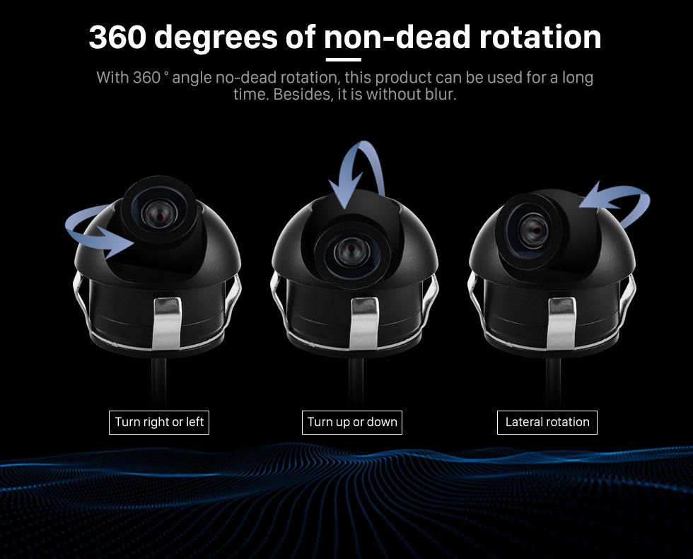 360 degrees of non-dead rotation Wide Angle Vision 170 Degree Large Lens Waterproof RearView Camera with Night Vision 360 Degree No-dead Rotation Backup Camera
