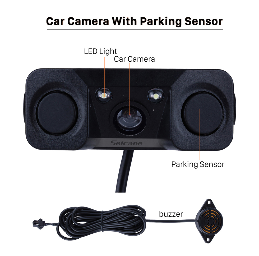 Seicane HD 3 in 1 Sound Alarm CCD HD Car Reverse Backup LED Rear View Camera Parking Radar System, Rearview Camera + 2 Sensors