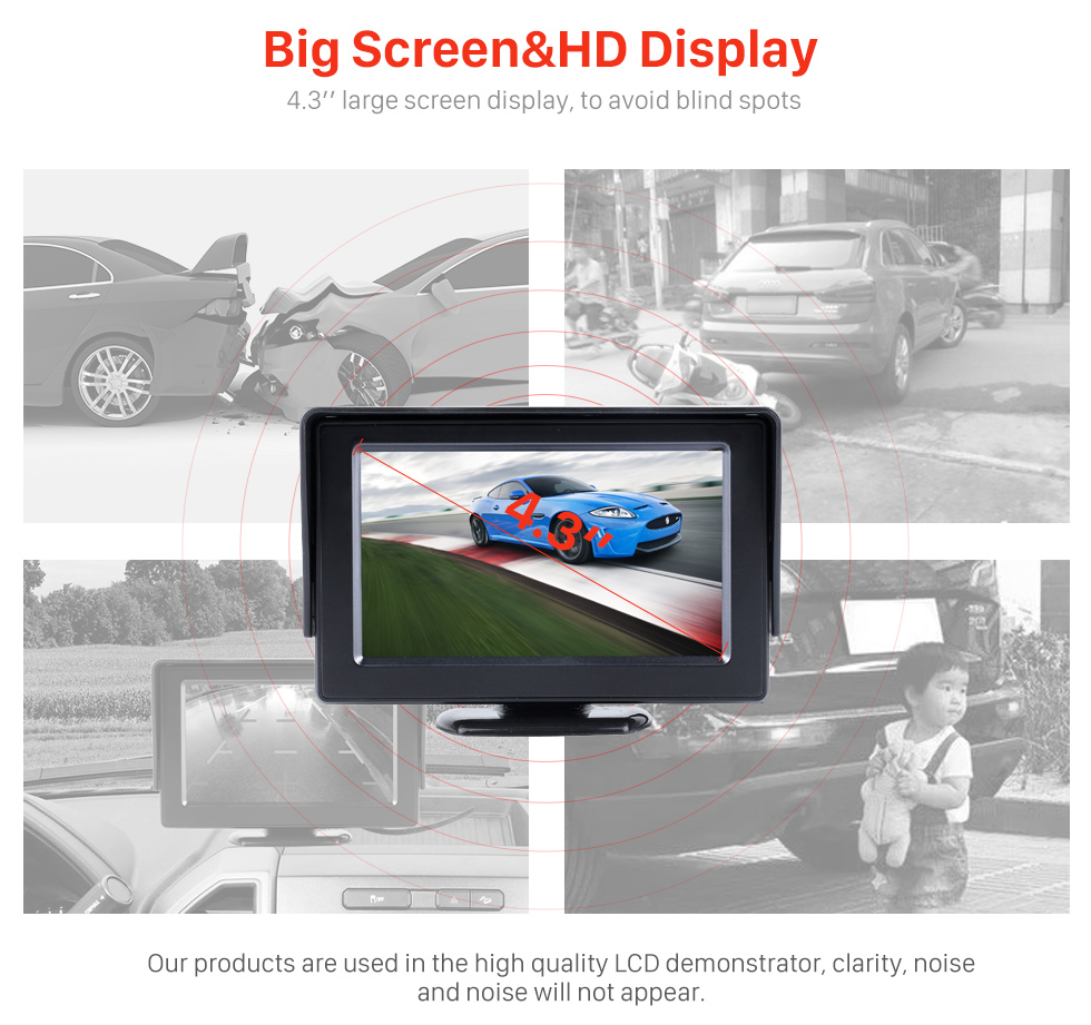 Big Screen & HD Display 4.3 Inch HD Digtal TFT LCD Monitor Display with Backup RearView Camera Reverse Parking Assistance System