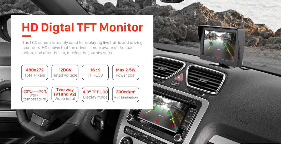 HD Digtal TFT Monitor 4.3 Inch HD Digtal TFT LCD Monitor Display with Backup RearView Camera Reverse Parking Assistance System