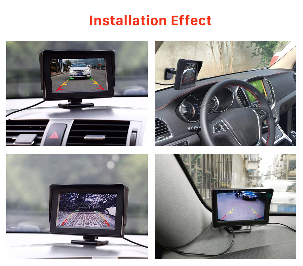 Installation Effect 4.3 Inch HD Digtal TFT LCD Monitor Display with Backup RearView Camera Reverse Parking Assistance System