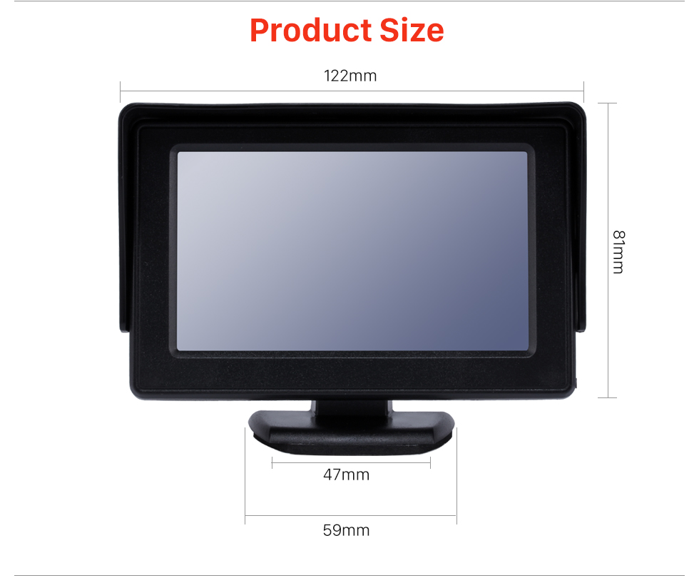 Product Size 4.3 Inch HD Digtal TFT LCD Monitor Display with Backup RearView Camera Reverse Parking Assistance System