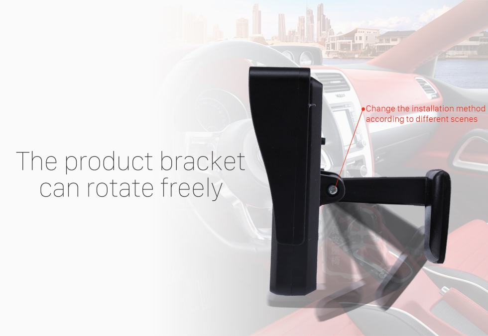 The product bracket can rotate freeely 4.3 Inch HD Digtal TFT LCD Monitor Display with Backup RearView Camera Reverse Parking Assistance System