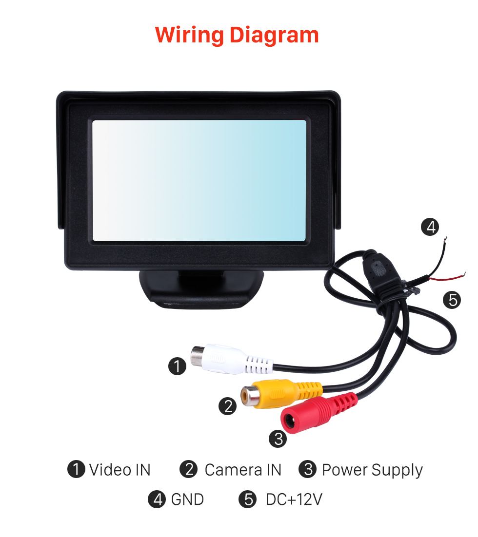 Wiring Diagram 4.3 Inch HD Digtal TFT LCD Monitor Display with Backup RearView Camera Reverse Parking Assistance System