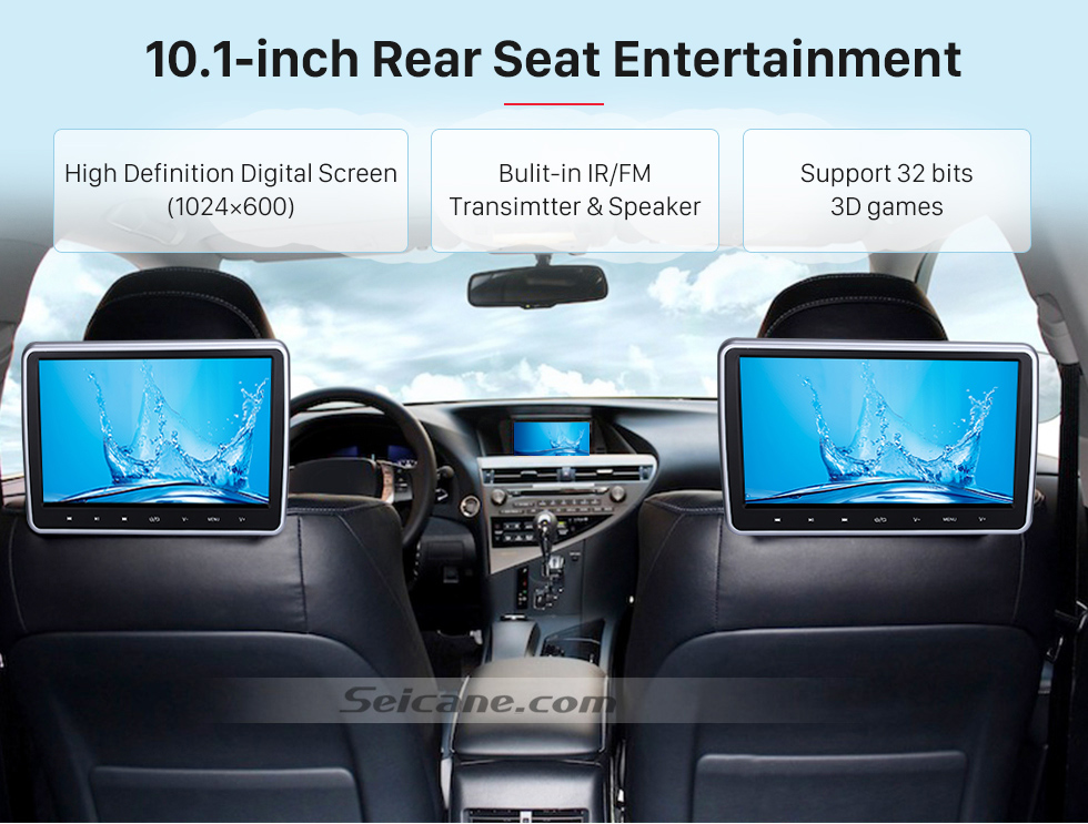 "Seicane Brand new 10.1"" HD 1024 * 600 high definition headrest MP5 Player Free Tilt Multilingual IR Transmitter FM Transmitter Game Function SD USB (1 pair)"