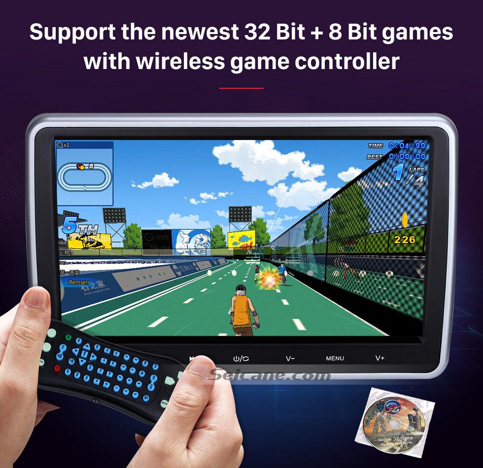"Seicane Brand new 10.1"" HD 1024 * 600 high definition headrest MP5 Player Free Tilt Multilingual IR Transmitter FM Transmitter Game Function SD USB (1 pair)"