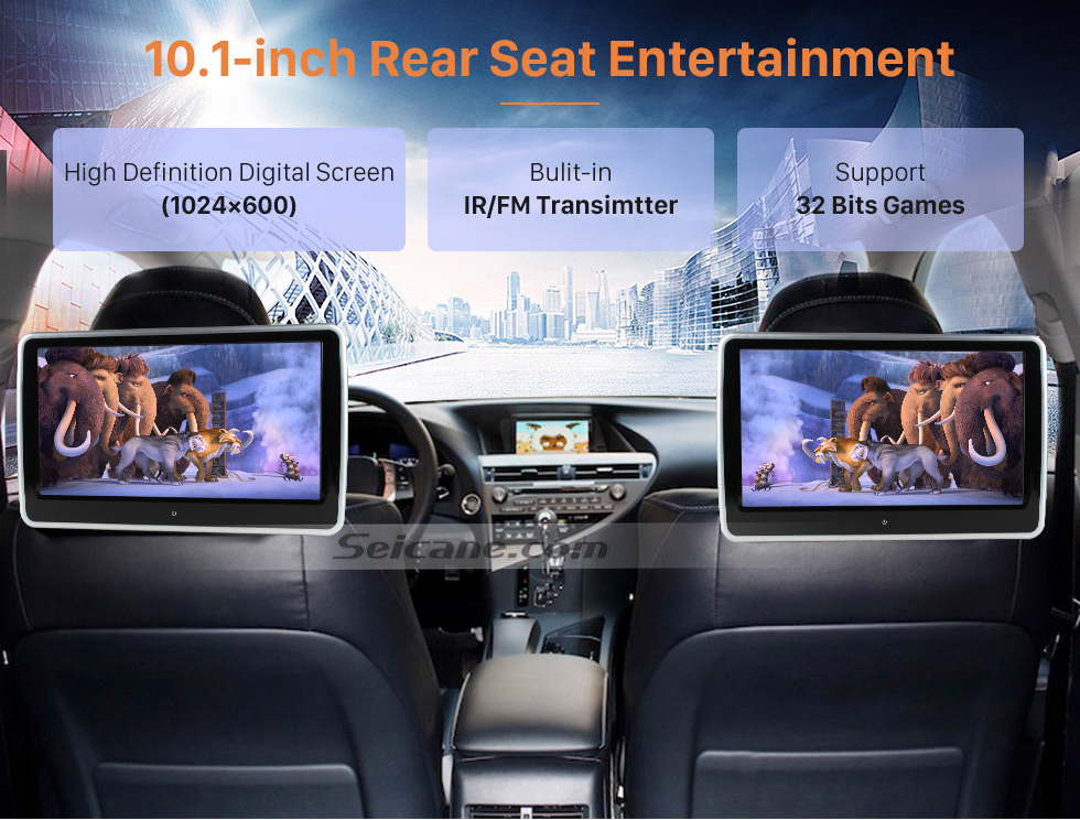 "10.1-inch Rear Seat Entertainment Ultra-thin HD 1024 * 600 high definition 10.1"" touch screen headrest MP5 Player Free Tilt FM Transmitter IR Transmitter 32 Bit Games USB SD Audio/Video Input & Output (1 pair)"