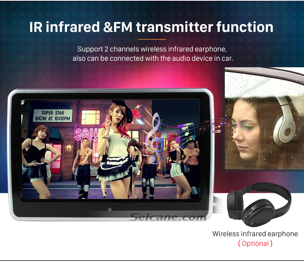 "IR infrared &FM transmitter function Ultra-thin HD 1024 * 600 high definition 10.1"" touch screen headrest MP5 Player Free Tilt FM Transmitter IR Transmitter 32 Bit Games USB SD Audio/Video Input & Output (1 pair)"