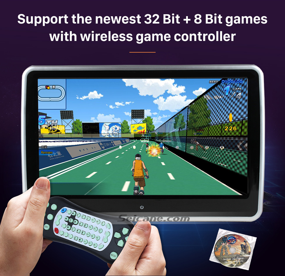 "Support the newest 32 bit+8 Bit games with wireless game controller Ultra-thin HD 1024 * 600 high definition 10.1"" touch screen headrest MP5 Player Free Tilt FM Transmitter IR Transmitter 32 Bit Games USB SD Audio/Video Input & Output (1 pair)"