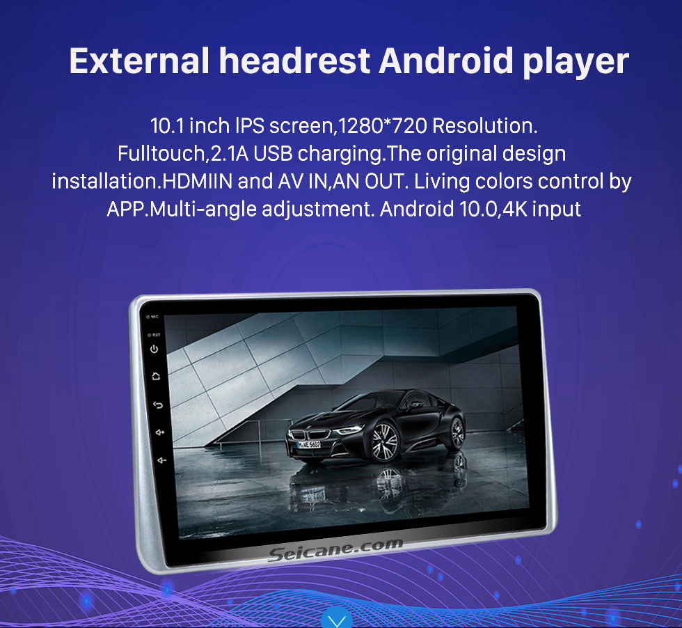 Seicane Newest Android 6.0 Quad-core headrest MP5 Player with 10.1-inch Free Tilt HD 1024 * 600 Digital TFT LED Touch Screen FM Transmitter IR Transmitter USB SD Bluetooth WIFI (1 pair)