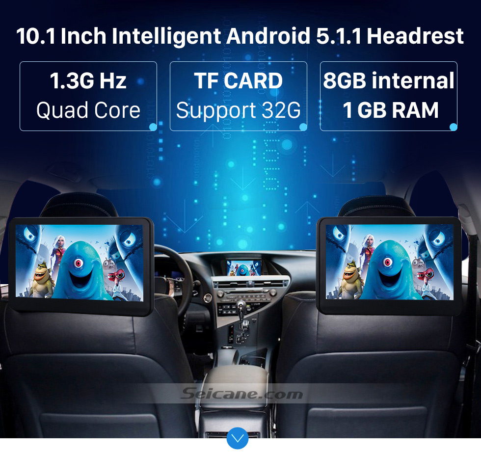 10.1 Inch Intelligent Android 5.1.1 Hearest 2×10.1 inch Intelligent Android 5.1.1 Quad-code Free Tilt  headrest  MP5 DVD Player with digital HD 1024 * 600 TFT LED Touch Screen Bluetooth WIFI FM Transmitter IR Transmitter USB SD