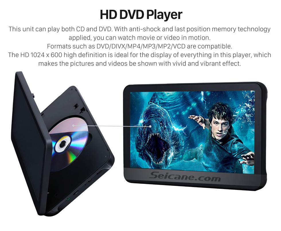 HD DVD Player 2×10.1 inch Intelligent Android 5.1.1 Quad-code Free Tilt  headrest  MP5 DVD Player with digital HD 1024 * 600 TFT LED Touch Screen Bluetooth WIFI FM Transmitter IR Transmitter USB SD