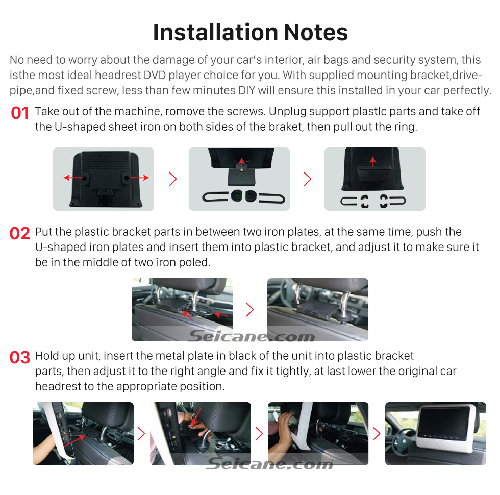 Installation Notes 2×10.1 inch Intelligent Android 5.1.1 Quad-code Free Tilt  headrest  MP5 DVD Player with digital HD 1024 * 600 TFT LED Touch Screen Bluetooth WIFI FM Transmitter IR Transmitter USB SD