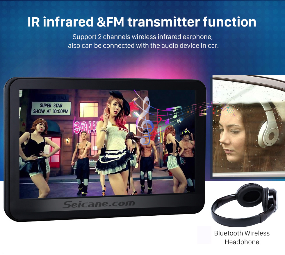 IR infrared &FM transmitter fuction 2×10.1 inch Intelligent Android 5.1.1 Quad-code Free Tilt  headrest  MP5 DVD Player with digital HD 1024 * 600 TFT LED Touch Screen Bluetooth WIFI FM Transmitter IR Transmitter USB SD