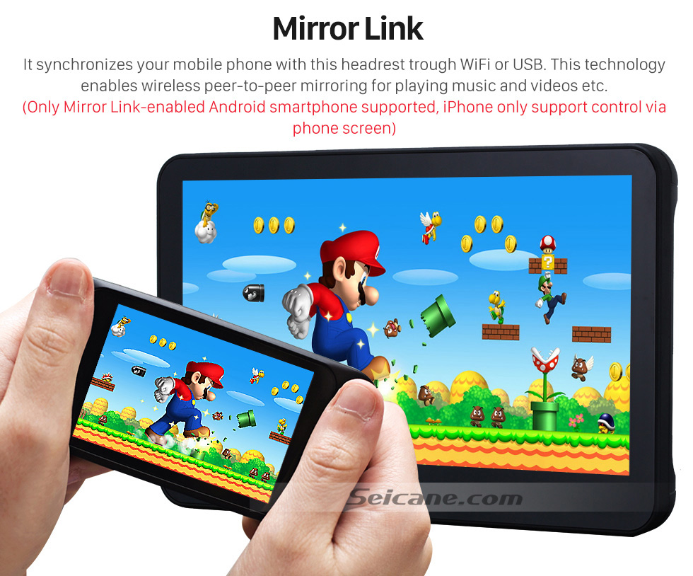 Mirror Link 2×10.1 inch Intelligent Android 5.1.1 Quad-code Free Tilt  headrest  MP5 DVD Player with digital HD 1024 * 600 TFT LED Touch Screen Bluetooth WIFI FM Transmitter IR Transmitter USB SD