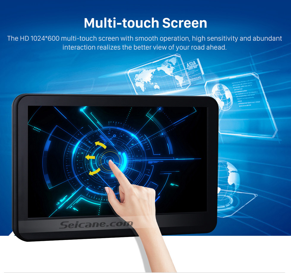 Multiple-touch Screen 2×10.1 inch Intelligent Android 5.1.1 Quad-code Free Tilt  headrest  MP5 DVD Player with digital HD 1024 * 600 TFT LED Touch Screen Bluetooth WIFI FM Transmitter IR Transmitter USB SD