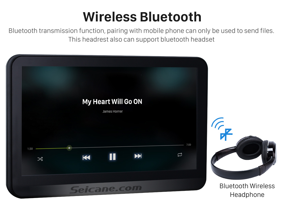 Wireless Bluetooth 2×10.1 inch Intelligent Android 5.1.1 Quad-code Free Tilt  headrest  MP5 DVD Player with digital HD 1024 * 600 TFT LED Touch Screen Bluetooth WIFI FM Transmitter IR Transmitter USB SD