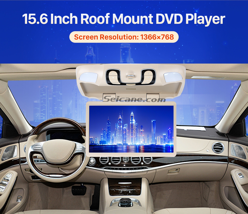 15.6 Inch Roof Mount DVD Player Hot Selling 15.6 inch Universal Overhead Slot-in Roof Mount DVD Player Remote Control Multi OSD Languages Support FM IR Transmitter USB SD Input Games 8GB External Memory