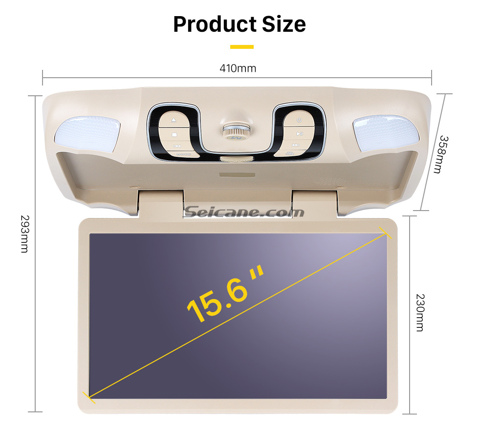 Product Size Hot Selling 15.6 inch Universal Overhead Slot-in Roof Mount DVD Player Remote Control Multi OSD Languages Support FM IR Transmitter USB SD Input Games 8GB External Memory
