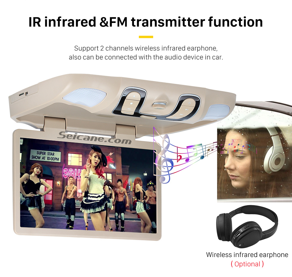 IR infrared &FM transmitter fuction Hot Selling 15.6 inch Universal Overhead Slot-in Roof Mount DVD Player Remote Control Multi OSD Languages Support FM IR Transmitter USB SD Input Games 8GB External Memory