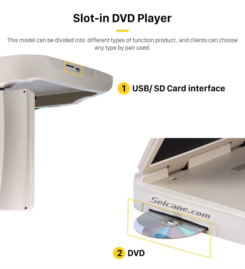 Slot-in DVD Player Hot Selling 15.6 inch Universal Overhead Slot-in Roof Mount DVD Player Remote Control Multi OSD Languages Support FM IR Transmitter USB SD Input Games 8GB External Memory