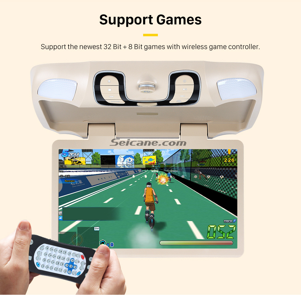 Support Games Hot Selling 15.6 inch Universal Overhead Slot-in Roof Mount DVD Player Remote Control Multi OSD Languages Support FM IR Transmitter USB SD Input Games 8GB External Memory