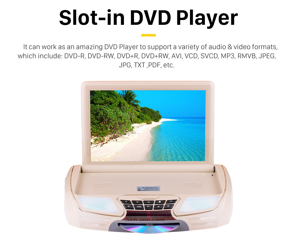 Seicane Fashionable Designed Universal Slot-in Roof Mount Player with HD 1080P Video 11.6 inch Screen Remote Control Multi OSD Languages Support HDMI IR/FM Transmitter Video Input Output
