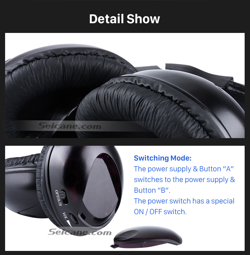Seicane Infrared Wireless Headphone Indoor Headset for PC Car Stereo Transmitter Headrest DVD Player TV Dual Channel
