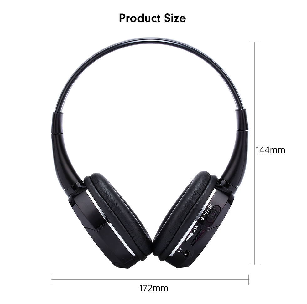 Seicane Seicane Headphone Indoor Bluetooth Headset for PC Car Stereo Transmitter Headrest DVD Player TV Dual Channel