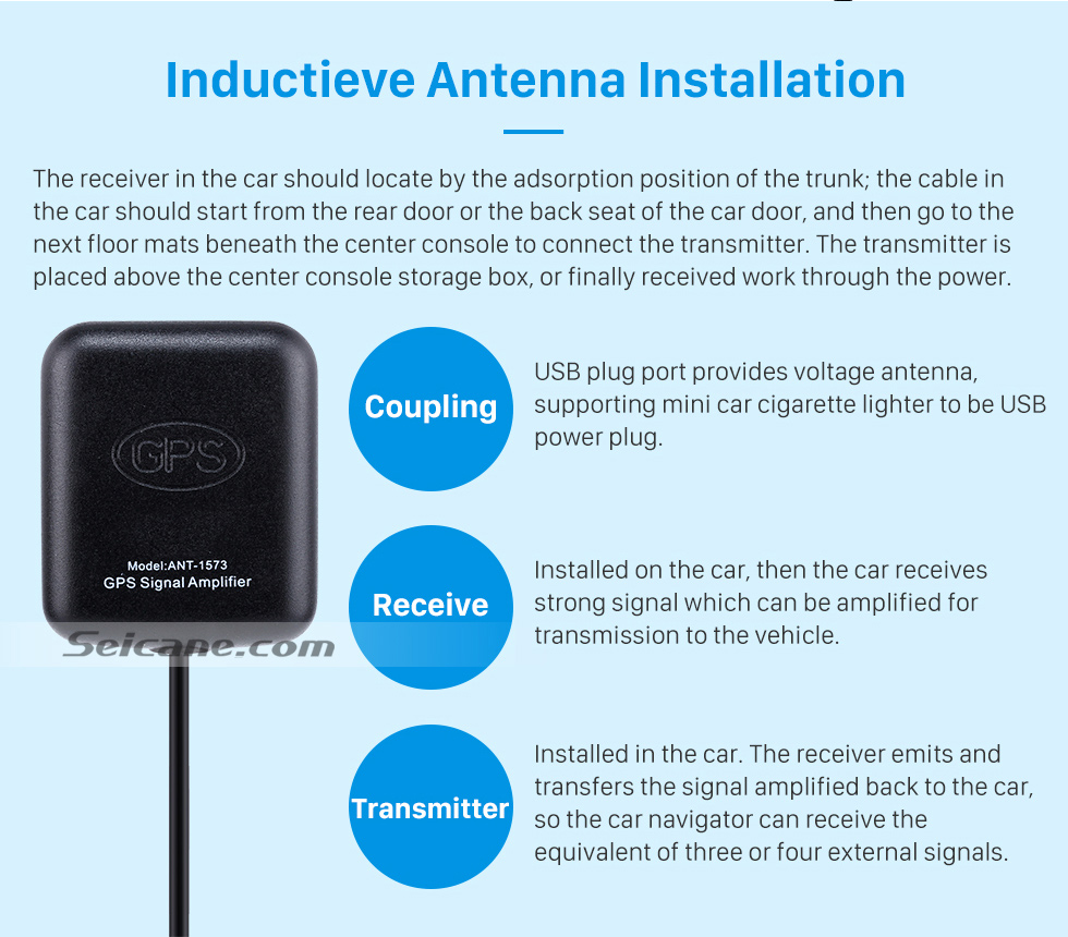Inductieve Antenna Installation Universal Singal AMP Amplifier for Automotive GPS Antenna Navigation Positioning Module with Low Noise Built-in Microwave Antenna Shielding Case
