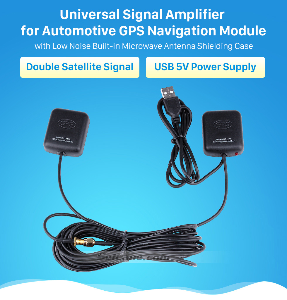 Universal Signal Amplifier for Automotive GPS Navigation Module Universal Singal AMP Amplifier for Automotive GPS Antenna Navigation Positioning Module with Low Noise Built-in Microwave Antenna Shielding Case