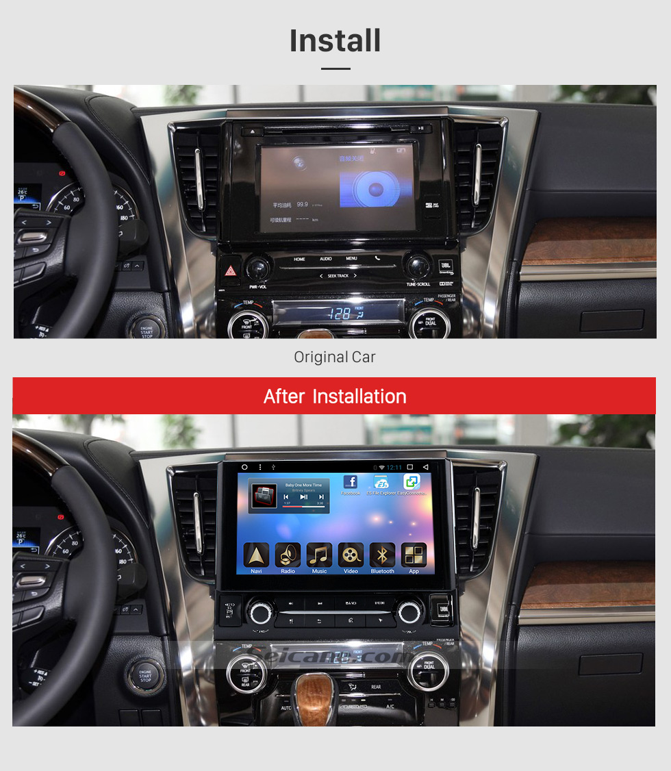 After Installation 2015 TOYOTA Alphard  10.1 inch Touchscreen Android 6.0 Radio GPS Navigation System with Bluetooth Music Mirror Link WIFI Steering Wheel Control 16G Flash Quad-core CPU