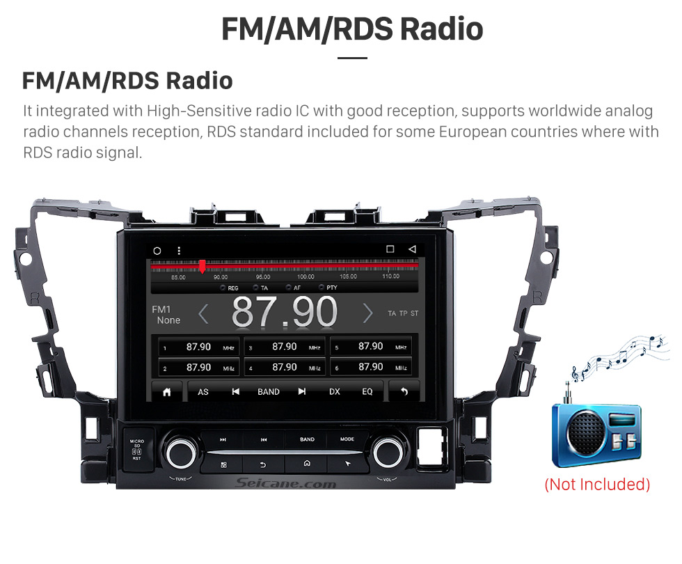 FM/AM/RDS Radio 2015 TOYOTA Alphard  10.1 inch Touchscreen Android 6.0 Radio GPS Navigation System with Bluetooth Music Mirror Link WIFI Steering Wheel Control 16G Flash Quad-core CPU