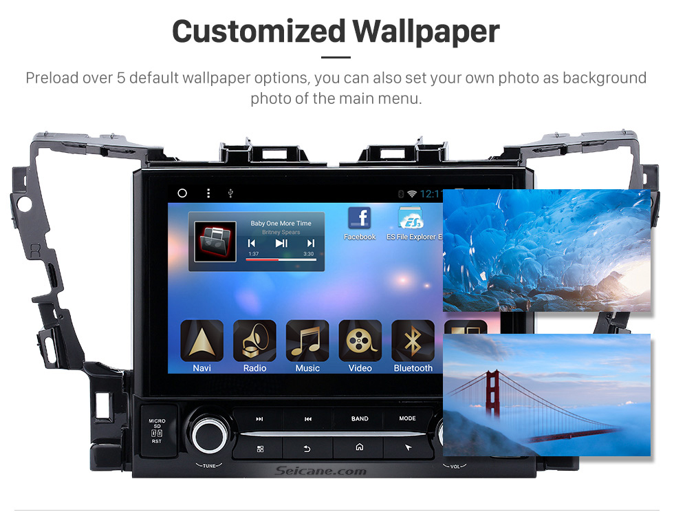 Customized Wallpaper 2015 TOYOTA Alphard  10.1 inch Touchscreen Android 6.0 Radio GPS Navigation System with Bluetooth Music Mirror Link WIFI Steering Wheel Control 16G Flash Quad-core CPU