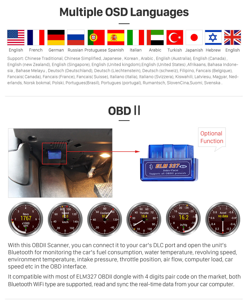 Multiple OSD Languages 2015 TOYOTA Alphard  10.1 inch Touchscreen Android 6.0 Radio GPS Navigation System with Bluetooth Music Mirror Link WIFI Steering Wheel Control 16G Flash Quad-core CPU