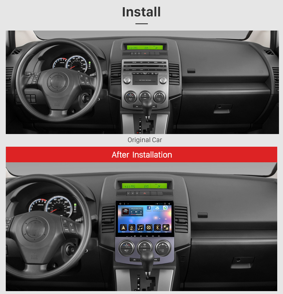 Seicane Android 6.0 OEM 2005-2008 2009 2010 Old Mazda 5 Head Unit Bluetooth GPS Navigation Radio RDS TV Tuner AUX Backup Camera Steering Wheel Control 3G Wifi Mirror Link USB