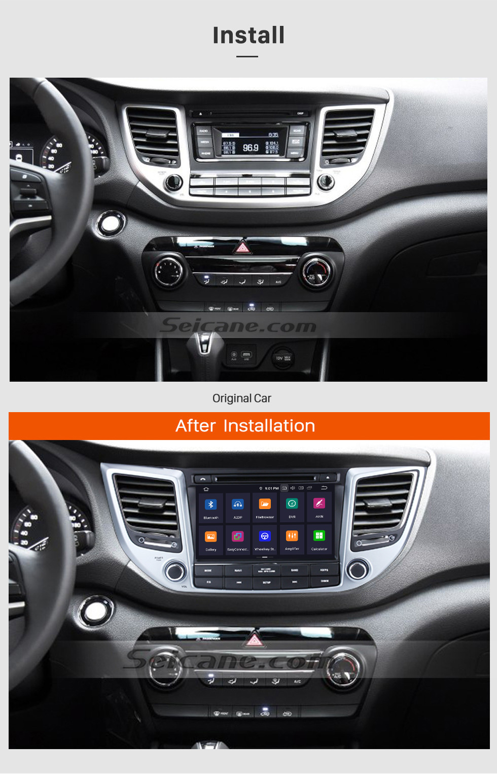 Seicane 2015 2016 Hyundai IX35 (LHD) 8 Inch Android 9.0 Car Radio GPS Navigation System HD 1024*600 Touch Screen Bluetooth TV 1080P WIFI Steering Wheel Contorl Backup camera
