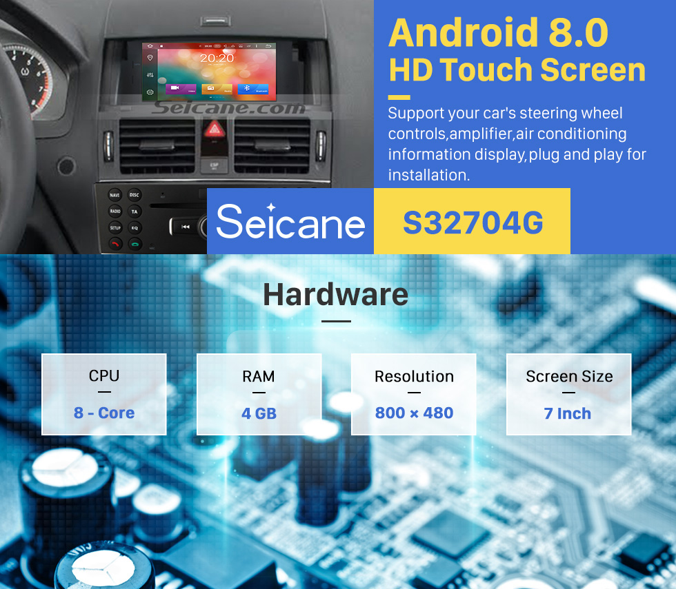 Seicane 7 inch Android 8.0 Radio GPS Navigation DVD Player for 2007-2011 Mercedes Benz C class W204 C180 C200 C220 C230 C240 Support USB Bluetooth Music 1080P Video WIFI OBD2 DVR
