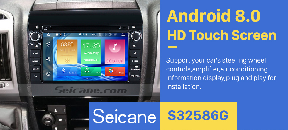 Seicane Aftermarket 7 inch Android 8.0 2007-2016 Fiat Ducato Radio DVD Player GPS Navigation System with Bluetooth 3G Wifi Mirror Link Steering Wheel Control Backup Camera DVR OBD2 DAB+