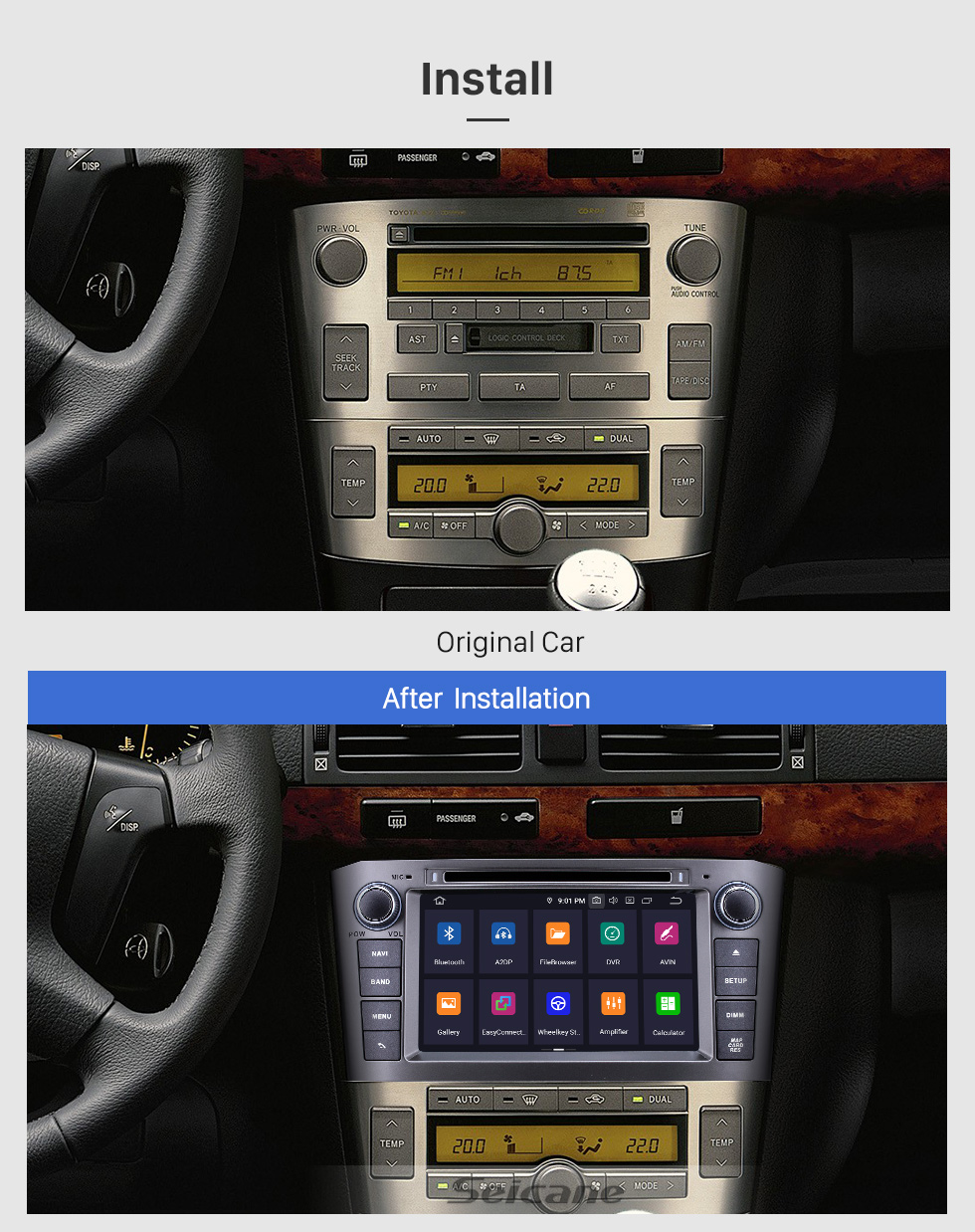 Seicane 2005 2006 2007 TOYOTA AVENSIS 7 inch Android 9.0 DVD Player GPS Navi Radio Support Bluetooth Mirror Link 1080P Video USB SD DVR WIFI OBD2 Aux