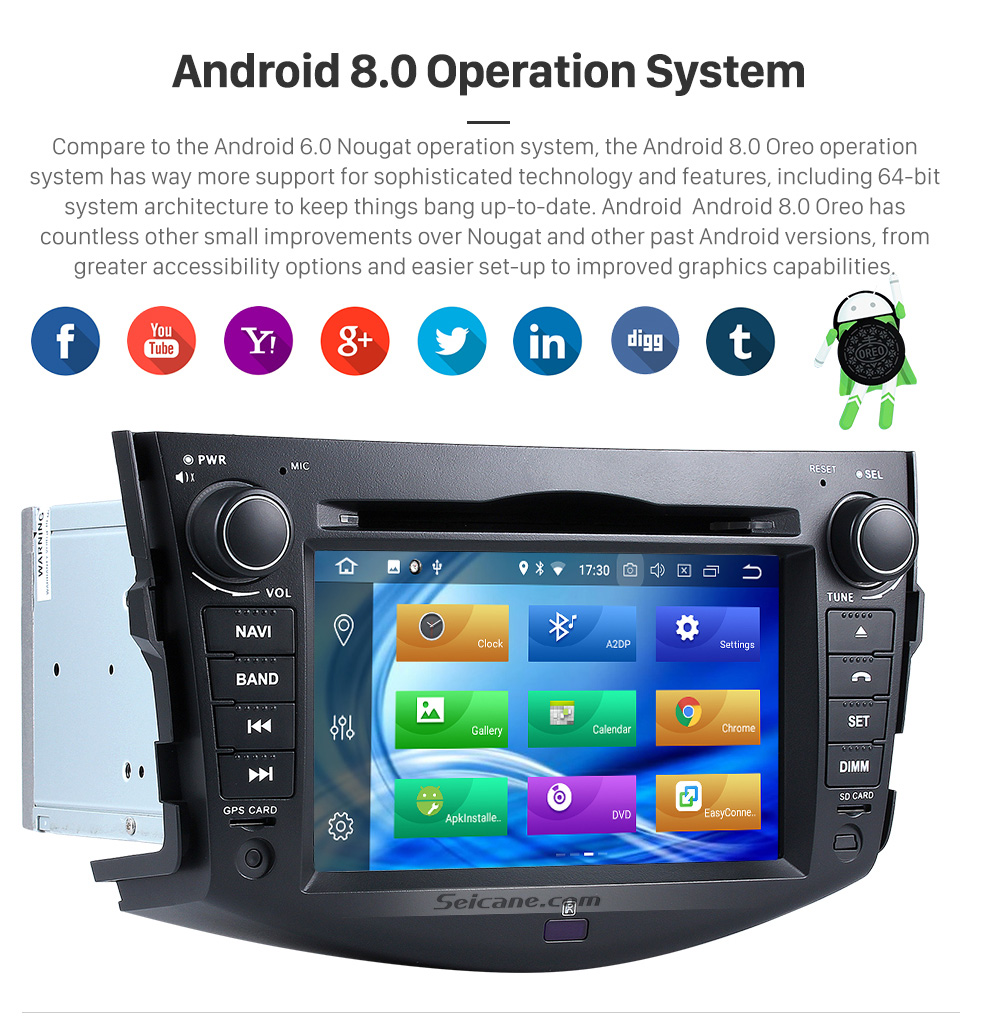 Seicane 2008 2009 2010 2011 Toyota Rav4 DVD Player Android 8.0 Radio GPS Head Unit Support Navigation OBD2 USB SD DVR Bluetooth Music WIFI Digital TV Mirror Link Steering Wheel Control