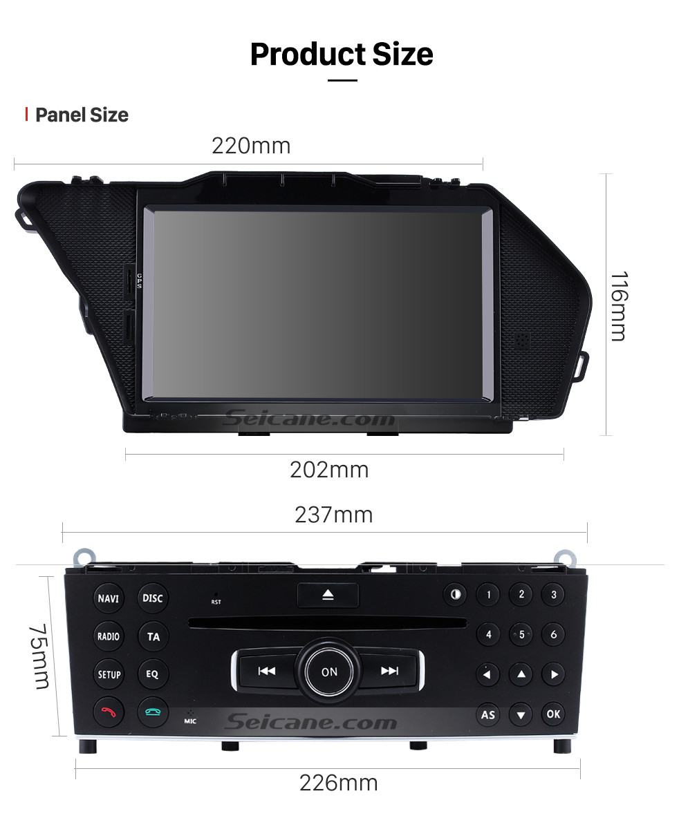 Seicane OEM 2008 2009 2010 - 2014 Mercedes Benz GLK X204 GLK350 GLK320 GLK280 GLK250 GLK220 GLK200 Android 9.0 Radio GPS Navigation DVD with 1024*600 touchscreen bluetooth Wifi OBD2 Mirror Link