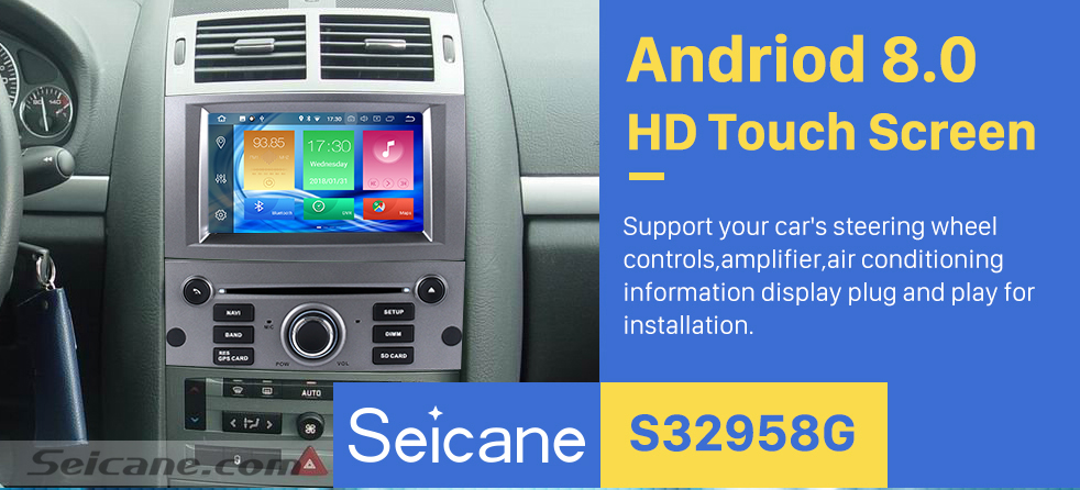 Seicane OEM Android 8.0 Radio GPS Navigation system for 2004-2010 Peugeot 407 with Wifi Backup Camera Bluetooth Mirror Link Steering Wheel Control OBD2 DAB+ DVR AUX