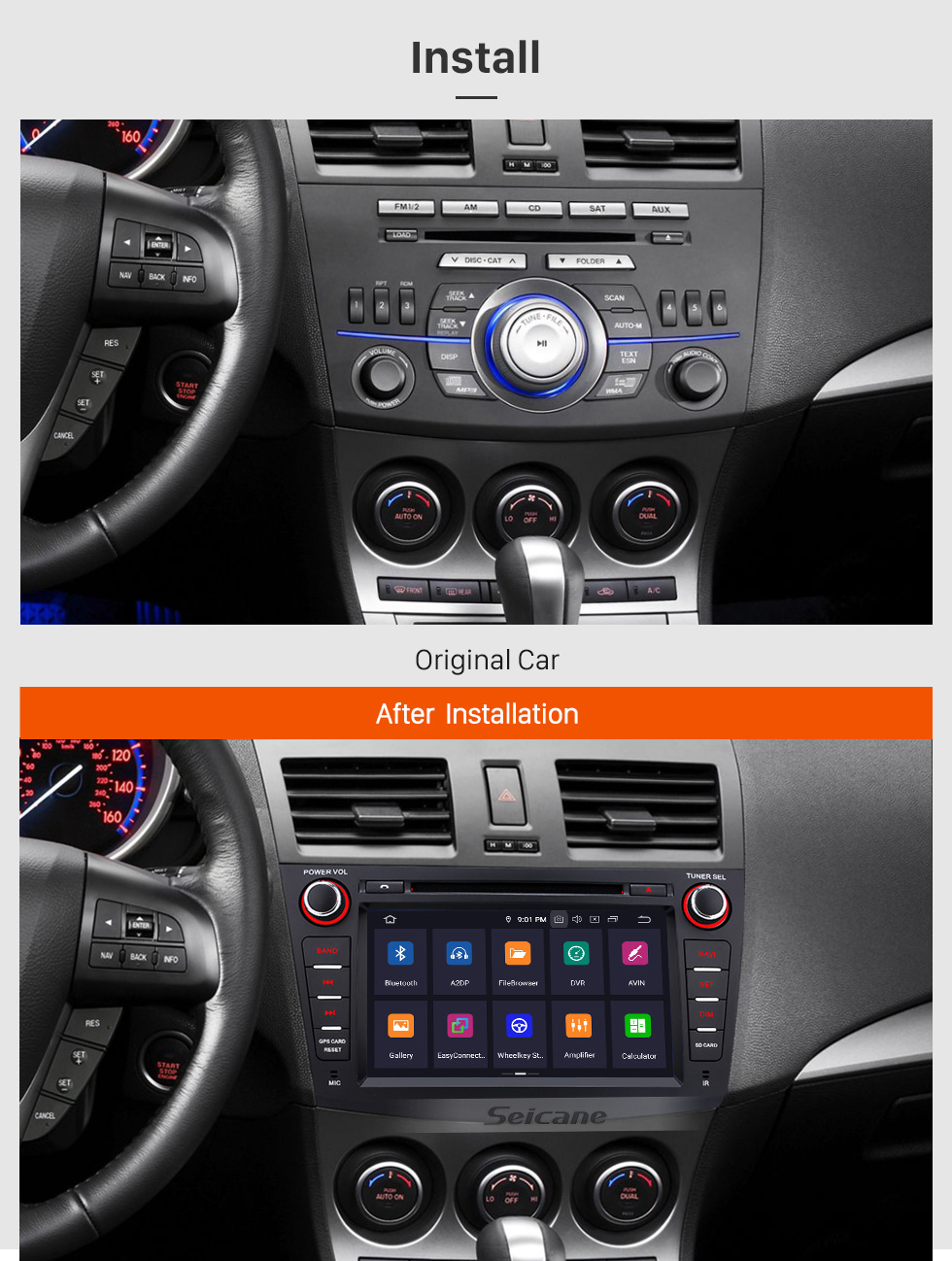 Seicane 8 inch HD Touchscreen Android 9.0 for 2010 2011 2012 Mazda 3 Radio with GPS Navigation Bluetooth WIFI USB Support 1080P Video DVR OBD2 Rearview camera