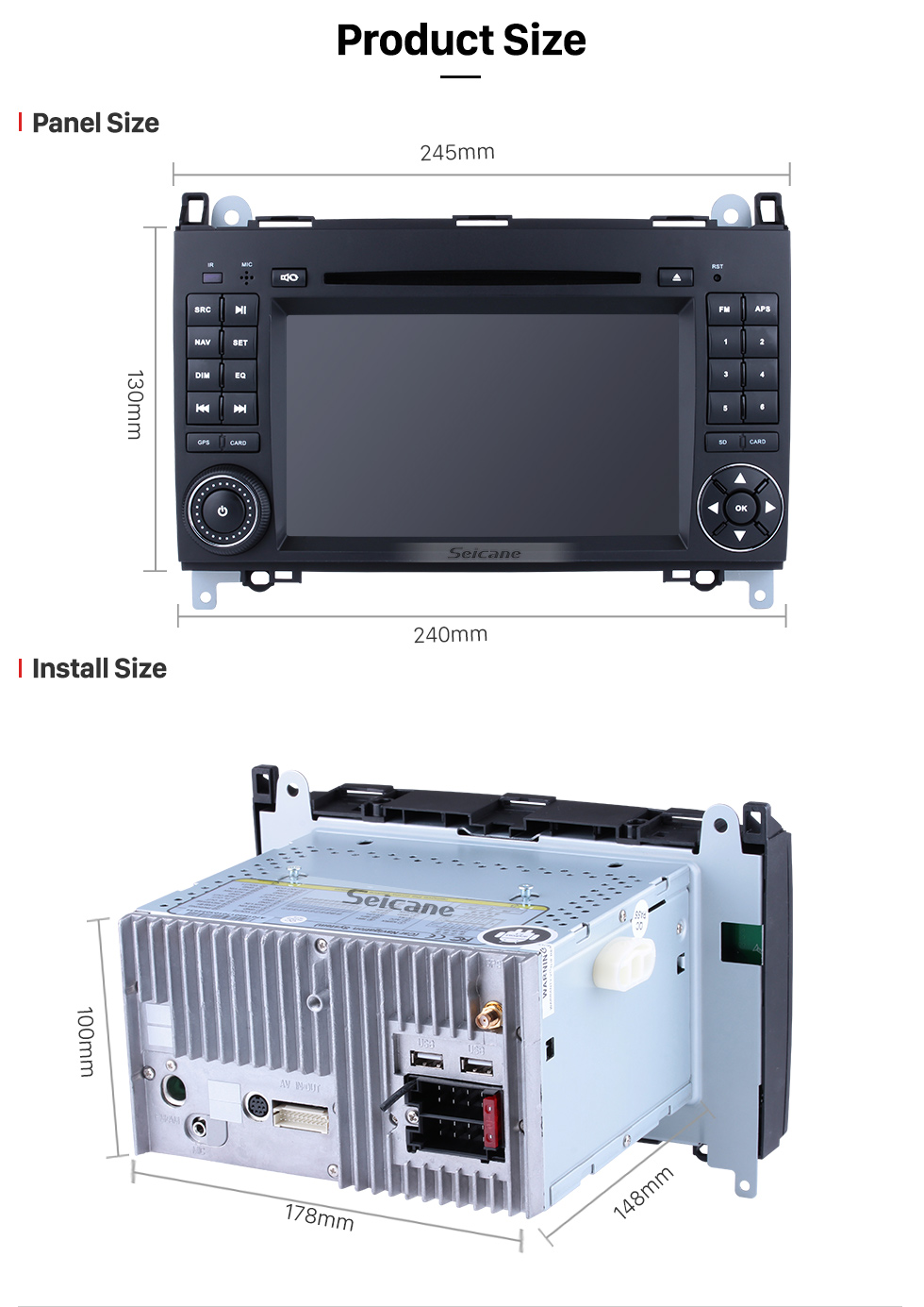 Seicane All in one Android 8.0 Radio DVD Play GPS Stereo Upgrade for 2004-2012 Mercedes Benz B Class W245 B160 B180 B200 Support Bluetooth FM AM USB WIFI Backup Camera DVR OBD2 Mirror Link Steering wheel control