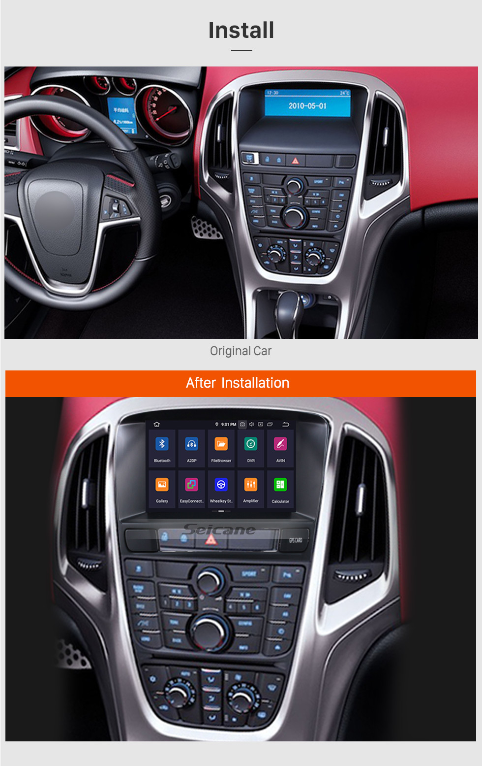 Seicane 7 inch HD Touchscreen Android 9.0 CD DVD Radio GPS Navigation Head unit for 2010 2011 2012 2013 Opel Astra J Support WIFI Bluetooth Music Audio system Aux 1080P Backup Camera
